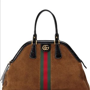 Gucci large rebelle suede satchell
